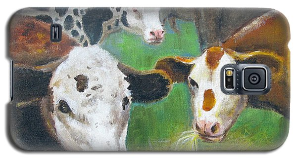 Galaxy S5 Case featuring the painting 3 Cows by Oz Freedgood