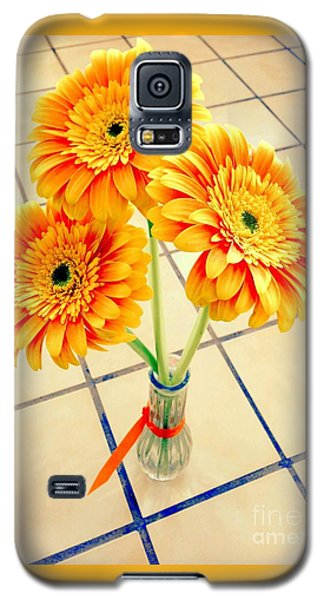 Galaxy S5 Case featuring the photograph 3 Golden Yellow Daisies Gift To My Beautiful Wife Suffering With No Hair Suffering Frombreast Cancer by Richard W Linford