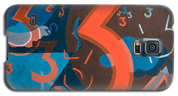 3 In Blue And Orange Galaxy S5 Case