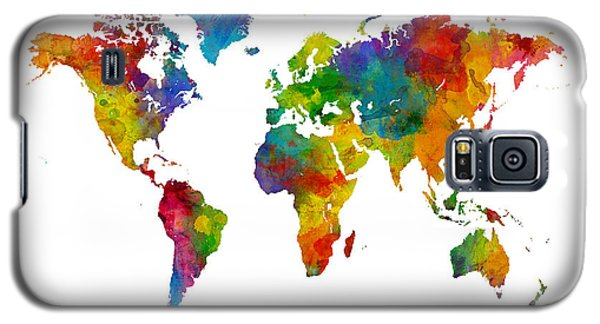Planets Galaxy S5 Case - Map Of The World Map Watercolor by Michael Tompsett