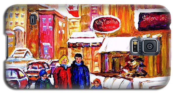 Galaxy S5 Case featuring the painting Montreal Street In Winter by Carole Spandau
