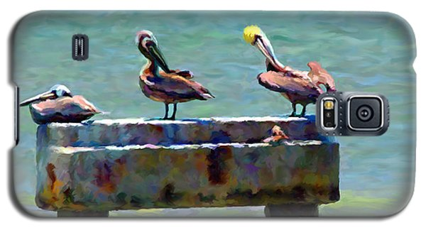 Galaxy S5 Case featuring the painting 3 Pelicans by David  Van Hulst