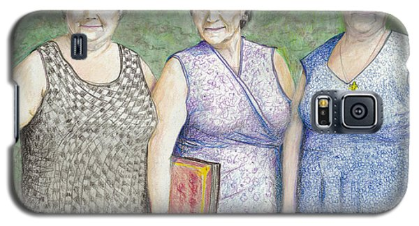 Galaxy S5 Case featuring the drawing 3 Sisters by Albert Puskaric
