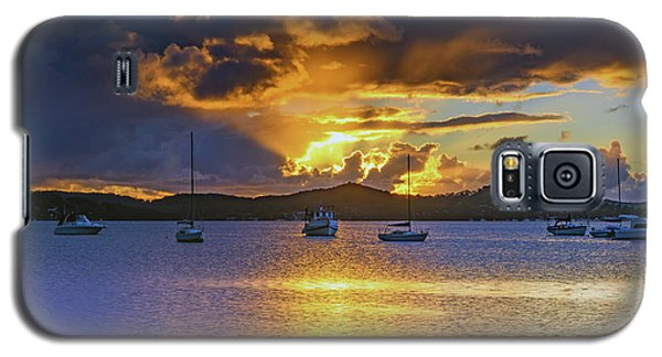 Sunrise Waterscape With Clouds And Boats Galaxy S5 Case