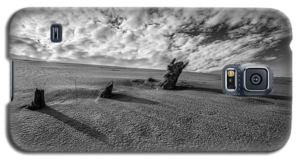 Galaxy S5 Case featuring the photograph 3 Wood At The Dunes Black And White  by John McGraw