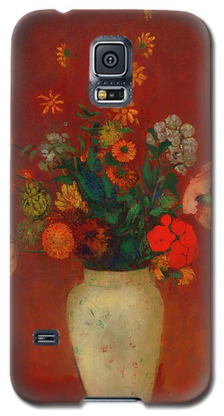 Galaxy S5 Case featuring the painting Bouquet In A Chinese Vase by Odilon Redon