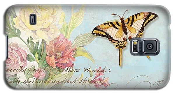 Fleurs De Pivoine - Watercolor W Butterflies In A French Vintage Wallpaper Style Galaxy S5 Case
