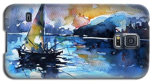 Galaxy S5 Case featuring the painting Sailboat by Kovacs Anna Brigitta