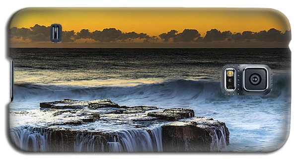 Sunrise Seascape With Cascades Over The Rock Ledge Galaxy S5 Case