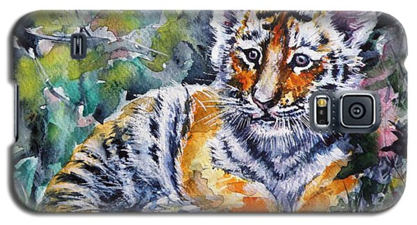 Galaxy S5 Case featuring the painting Tiger Cub by Kovacs Anna Brigitta