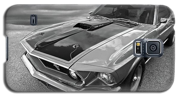 428 Cobra Jet Mach1 Ford Mustang 1969 In Black And White Galaxy S5 Case