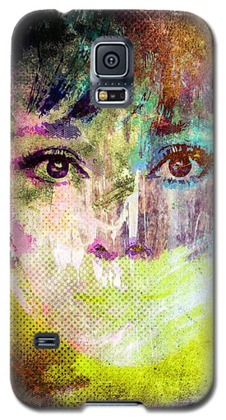 Galaxy S5 Case featuring the mixed media Audrey Hepburn by Svelby Art