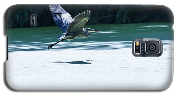 Galaxy S5 Case featuring the photograph Great Blue Heron In Flight by Edward Peterson