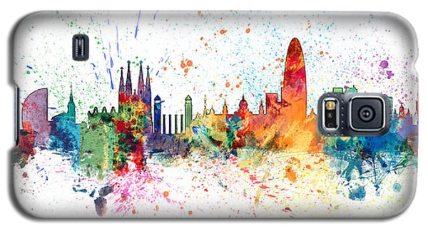Barcelona Galaxy S5 Case - Barcelona Spain Skyline by Michael Tompsett