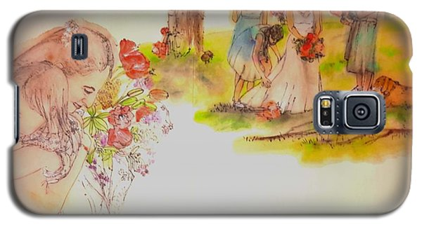 Galaxy S5 Case featuring the painting The Wedding Album  by Debbi Saccomanno Chan