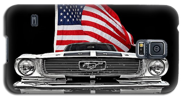 66 Mustang With U.s. Flag On Black Galaxy S5 Case