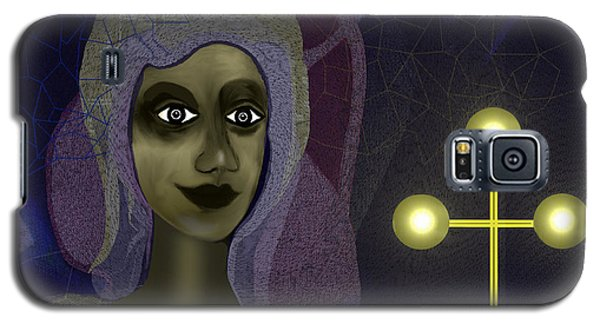 Galaxy S5 Case featuring the digital art 673 - Young Lady With Cross by Irmgard Schoendorf Welch