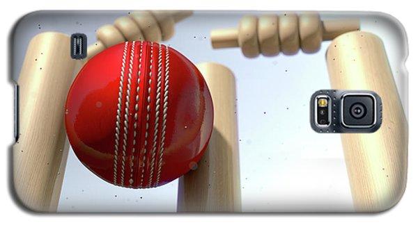 Cricket Galaxy S5 Case - Cricket Ball Hitting Wickets by Allan Swart