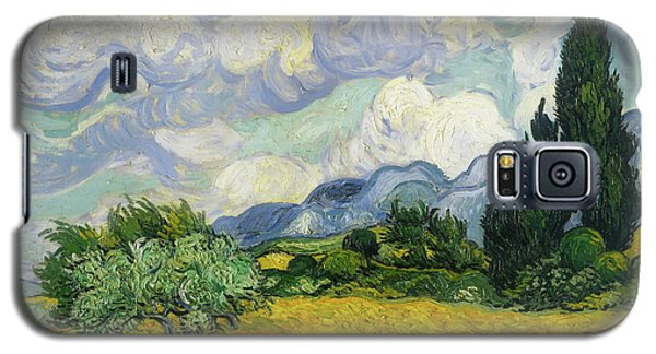 Galaxy S5 Case featuring the painting Wheat Field With Cypresses by Vincent van Gogh