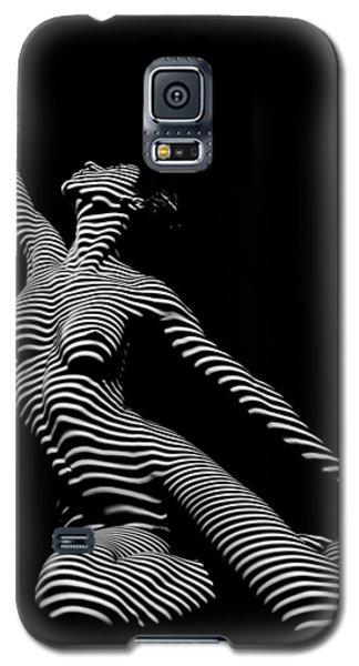 9970-dja Zebra Striped Yoga Reaching Sensual Lines Black White Photograph Abstract By Chris Mahert Galaxy S5 Case