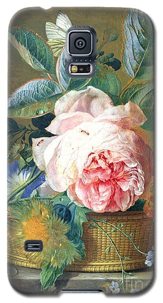 A Basket With Flowers Galaxy S5 Case by Jan van Huysum