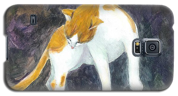 Galaxy S5 Case featuring the painting A Bathing Cat by Jingfen Hwu