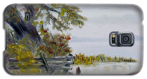 Galaxy S5 Case featuring the painting A Boat Waiting by Marilyn  McNish