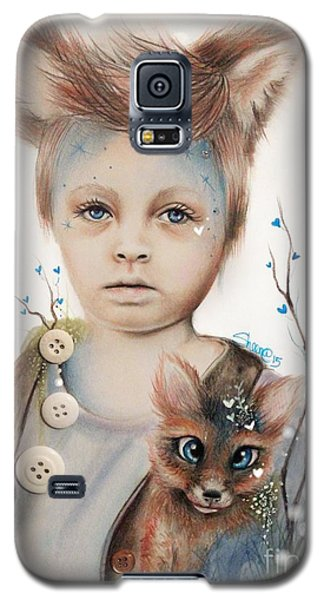 Galaxy S5 Case featuring the drawing A Boy And His Fox   by Sheena Pike