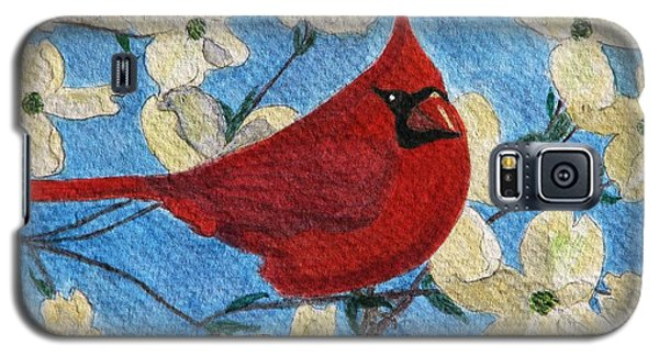 Galaxy S5 Case featuring the painting A Cardinal Spring by Angela Davies
