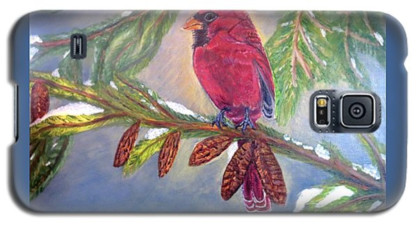 Galaxy S5 Case featuring the painting A Cardinal's Sweet And Savory Song Of Winter Thawing Painting by Kimberlee Baxter