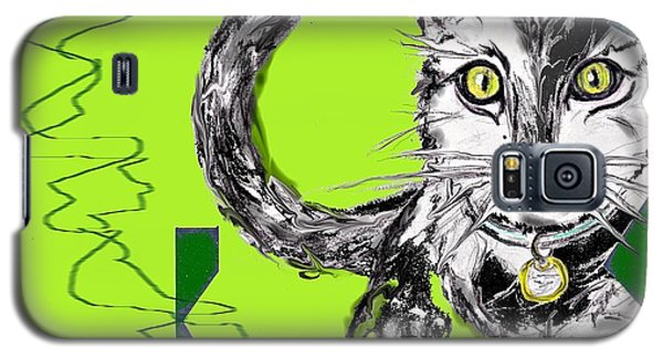 Galaxy S5 Case featuring the drawing A Cat by Desline Vitto