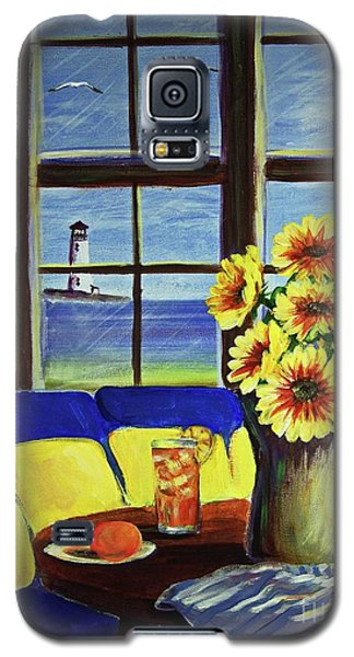 Galaxy S5 Case featuring the painting A Coastal Window Lighthouse View by Patricia L Davidson