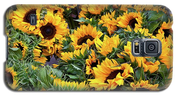 Galaxy S5 Case featuring the photograph A Crowd Of Sunflowers by Susan Cole Kelly