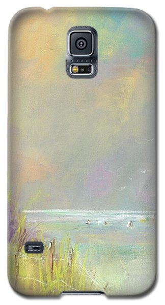 Galaxy S5 Case featuring the painting A Day At The Beach by Frances Marino