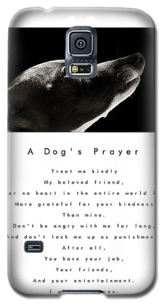 A Dog's Prayer In White  A Popular Inspirational Portrait And Poem Featuring An Italian Greyhound Galaxy S5 Case