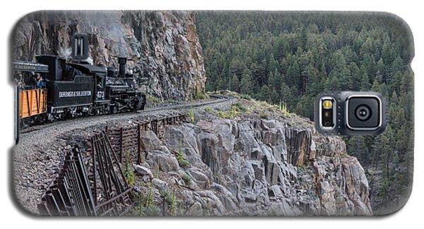 Galaxy S5 Case featuring the photograph A Durango And Silverton Narrow Gauge Scenic Railroad Train Along A San Juan Mountains Precipice by Carol M Highsmith