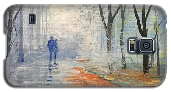 Galaxy S5 Case featuring the painting A Fall Walk by Trilby Cole