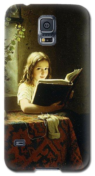 A Girl Reading Galaxy S5 Case by Johann Georg Meyer