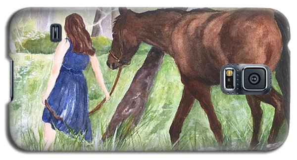 Galaxy S5 Case featuring the painting A Girl's Best Friend by Lucia Grilletto
