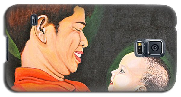 Galaxy S5 Case featuring the painting A Moment With Dad by Cyril Maza