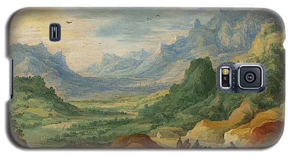 A Mountainous Landscape With Travellers And Herdsmen On A Path Galaxy S5 Case by Jan Brueghel and Joos de Momper