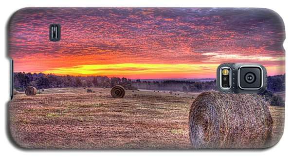 Galaxy S5 Case featuring the photograph Before A New Day Georgia Hayfield Sunrise Art by Reid Callaway