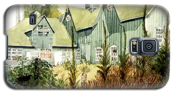 Watercolor Of An Old Wooden Barn Painted Green With Silo In The Sun Galaxy S5 Case