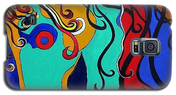 Galaxy S5 Case featuring the painting A Rainbow Called Romeo by Alison Caltrider