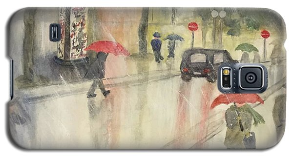 Galaxy S5 Case featuring the painting A Rainy Streetscene  by Lucia Grilletto