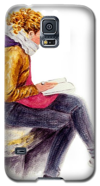 Galaxy S5 Case featuring the painting A Reading Girl In Milan by Jingfen Hwu