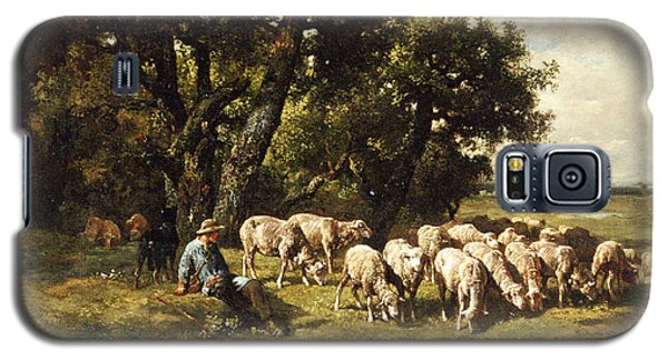 Sheep Galaxy S5 Case - A Shepherd And His Flock by Charles Emile Jacques