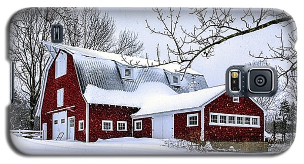 A Snowy Day At Grey Ledge Farm Galaxy S5 Case by Betty Denise