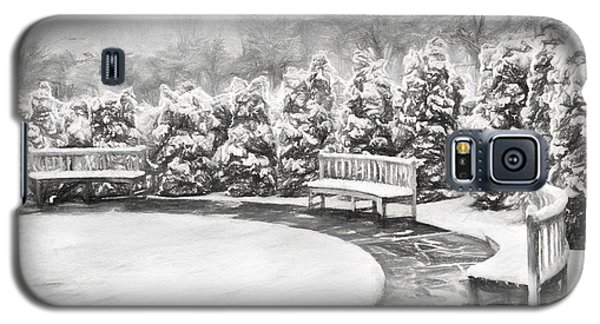 Galaxy S5 Case featuring the painting A Snowy Day In The Park Bw by Dan Carmichael