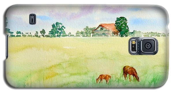 Galaxy S5 Case featuring the painting A Spring Graze by Sharon Mick